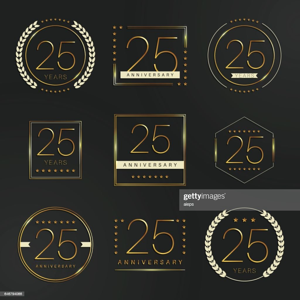 Twenty five years anniversary celebration logotype. 25th anniversary gold logo set.