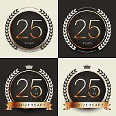 Twenty five years anniversary celebration logotype. 25th anniversary logo set.