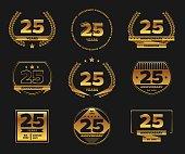 Twenty five years anniversary celebration logotype. 25th anniversary gold logo set.