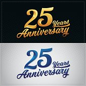 twenty five years anniversary celebration logotype. 25th anniversary logo