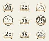 Twenty five years anniversary celebration logotype collection. 25th anniversary logo.