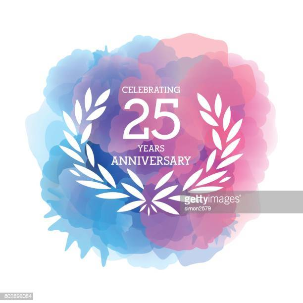 twenty five years anniversary emblem on watercolor background - 25 29 years stock illustrations