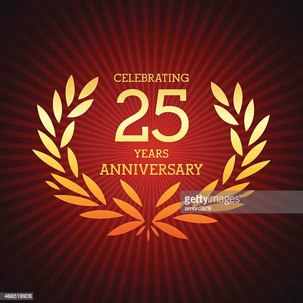 twenty five years anniversary emblem - 25 29 years stock illustrations