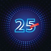 Twenty five years anniversary icon with blue color background