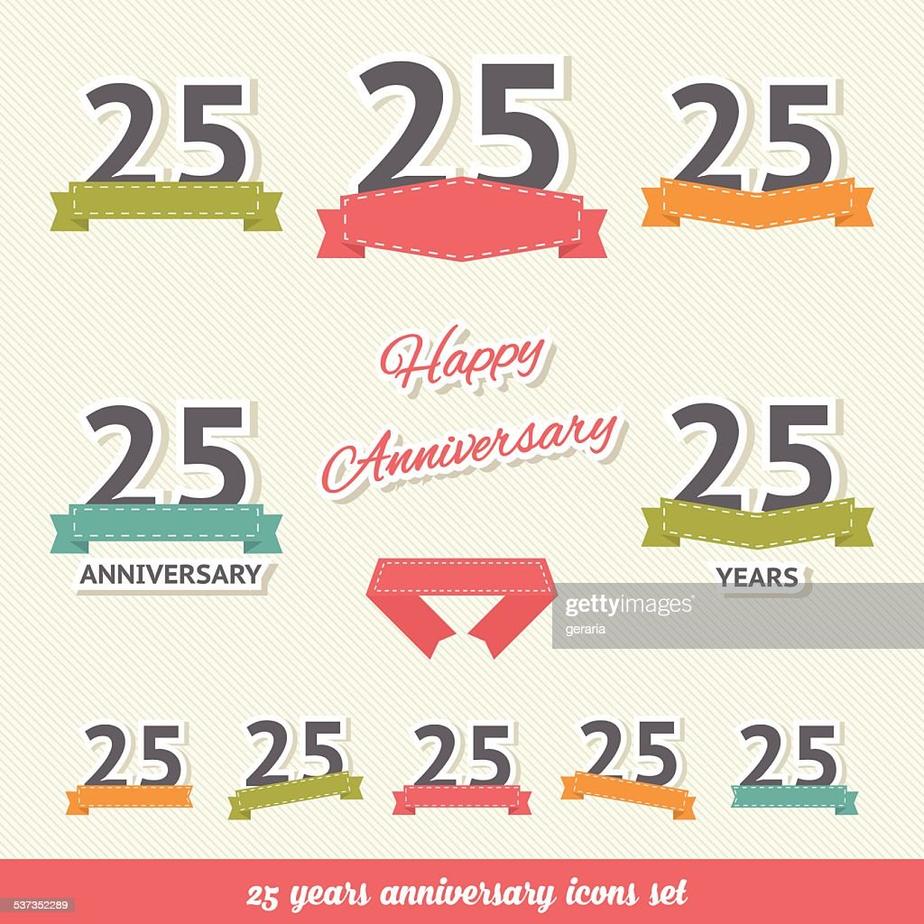 Twenty five years anniversary icons collection