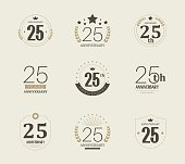 Twenty five years anniversary logo. 25th anniversary vintage logotype.