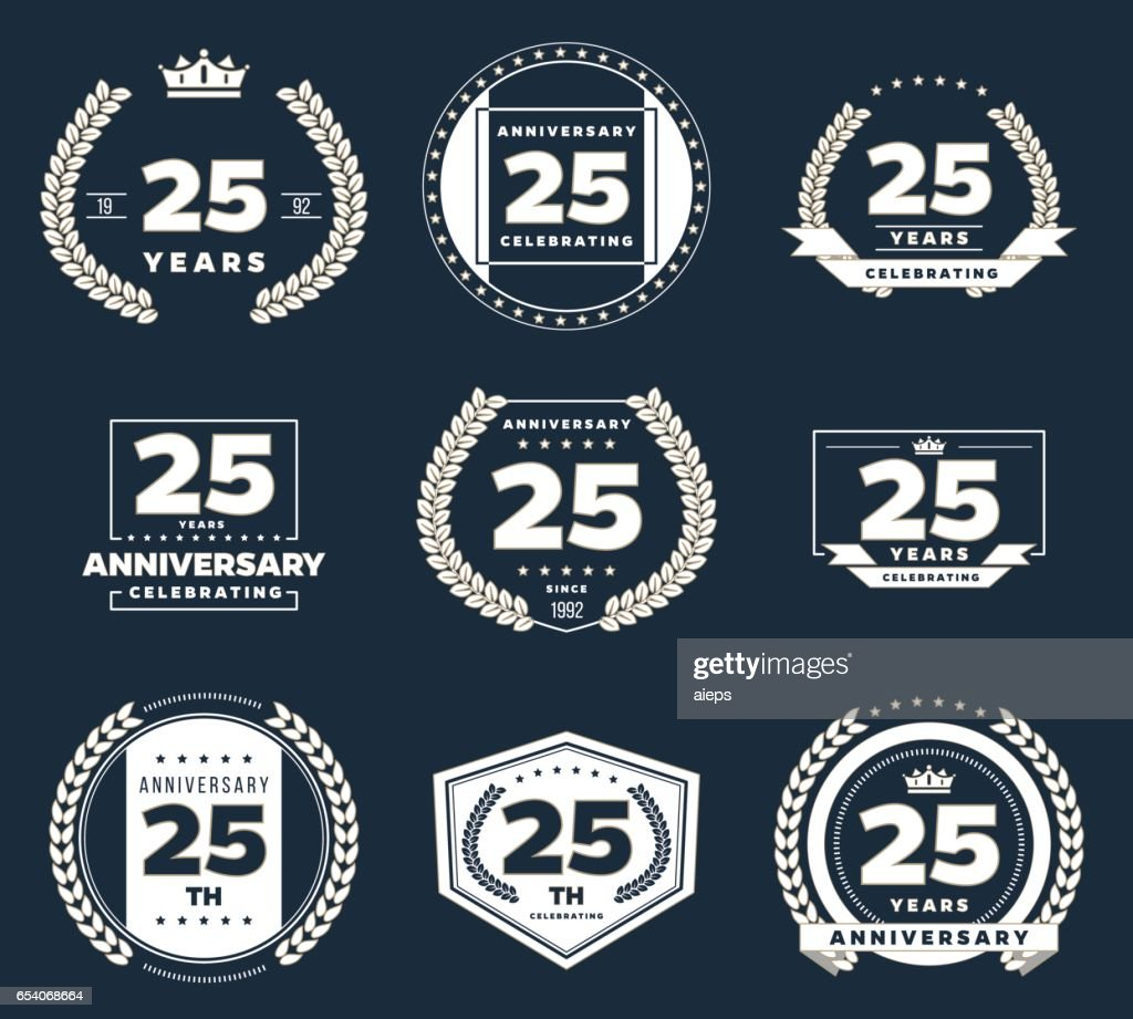 Twenty five years anniversary logotype. 25th anniversary vintage logo set.