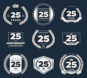 Twenty five years anniversary logotype. 25th anniversary vintage logo set.