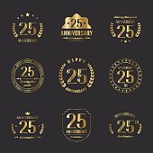 Twenty five years anniversary logotype collection. 25th anniversary logo.