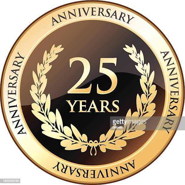 twenty five years anniversary shield - 25 29 years stock illustrations