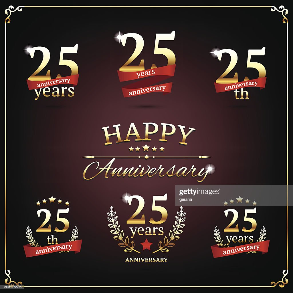 Twenty five years anniversary signs collection