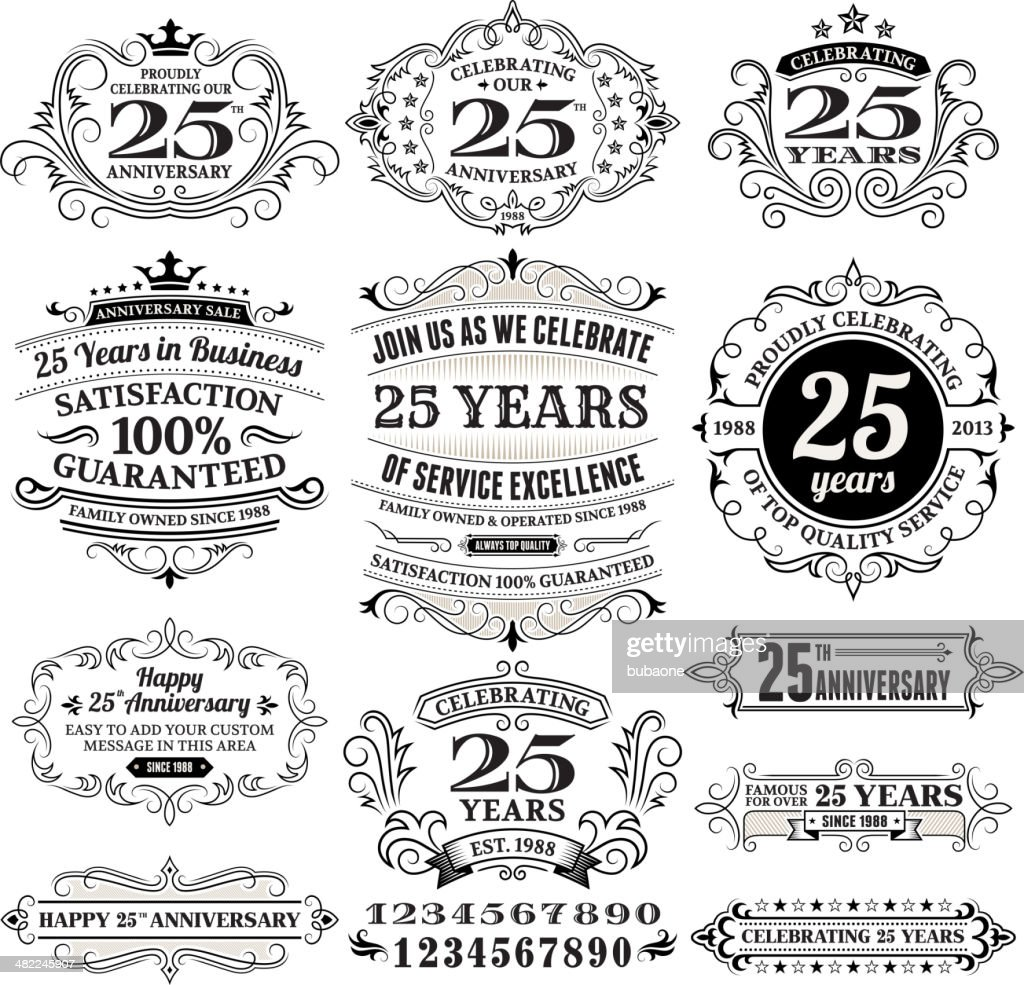 Twenty Five Years Black And White Anniversary Label