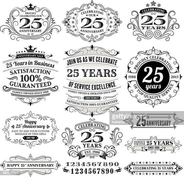 twenty five years black and white anniversary label collection - 25 29 years stock illustrations