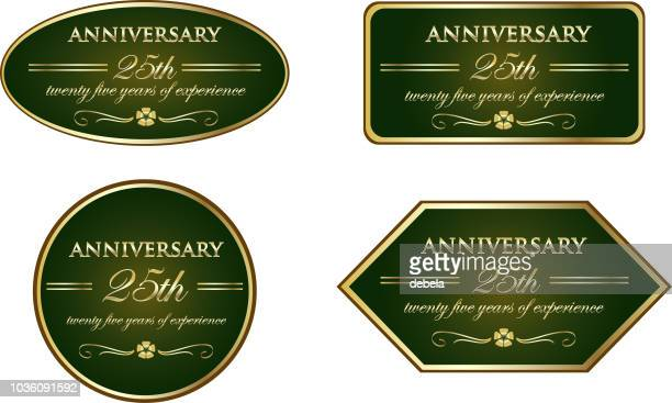 twenty five years of experience luxury vintage anniversary label collection - award plaque stock illustrations, clip art, cartoons, & icons