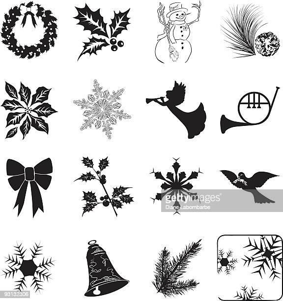 ilustraciones, imágenes clip art, dibujos animados e iconos de stock de veinte aislado de invierno y navidad iconos clipart en blanco. - flor de pascua