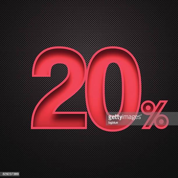 Twenty Percent Design (20%). Red number on Carbon Fiber Background