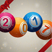 Twenty Seventeen bingo lottery ball background with ribbons and bow