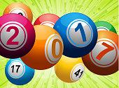 Twenty Seventeen bingo lottery balls on green