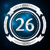 Twenty six 26 Years Anniversary Celebration Design. Silver ring and ribbon on blue background. Colorful Vector template elements for your birthday party