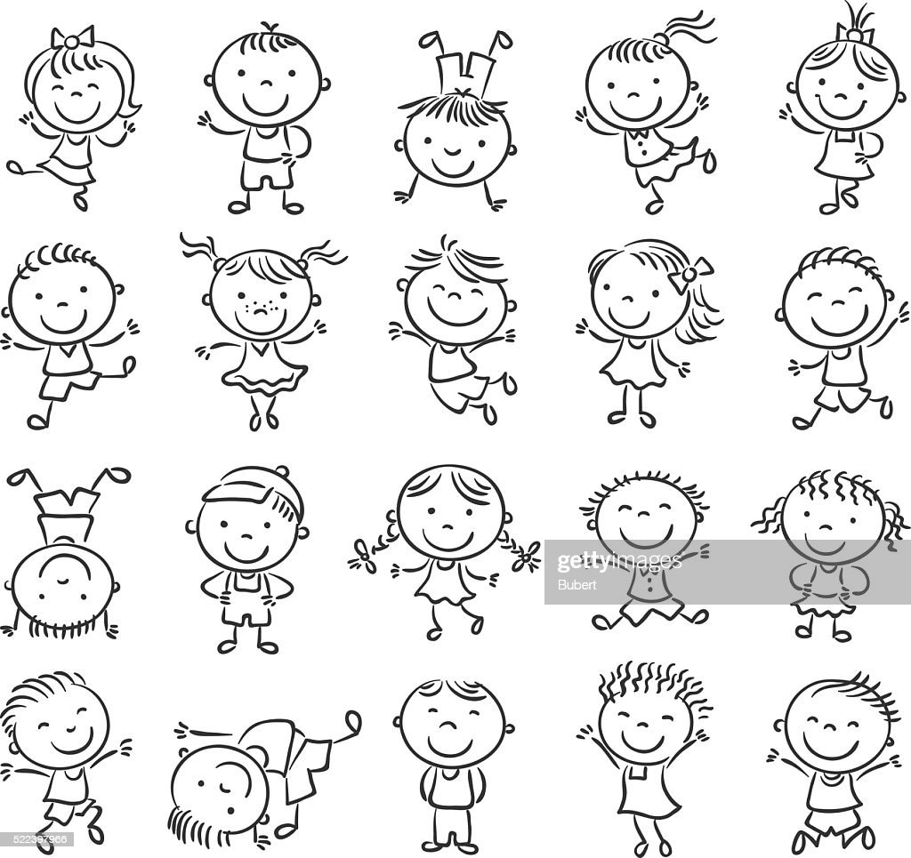 Twenty sketchy happy kids, black and white outline