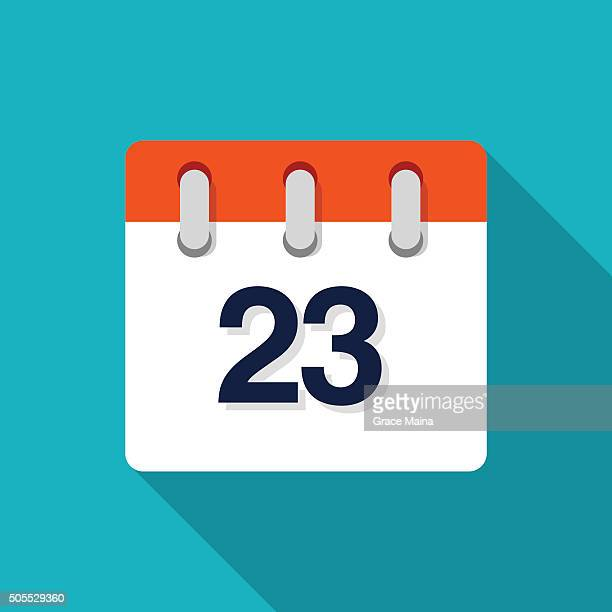 Twenty Third Flat Design Calendar Icon - VECTOR