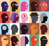 Twenty vector graphics of human heads in various designs