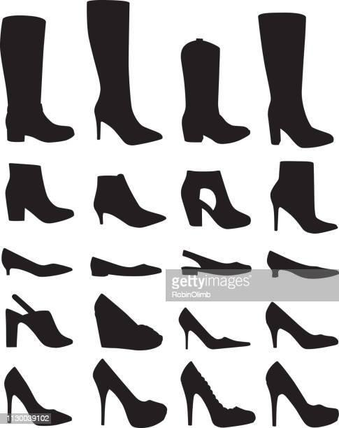 twenty womans shoe silhouettes - high heels stock illustrations