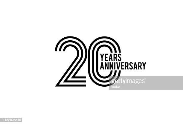 twenty year anniversary design - anniversary stock illustrations
