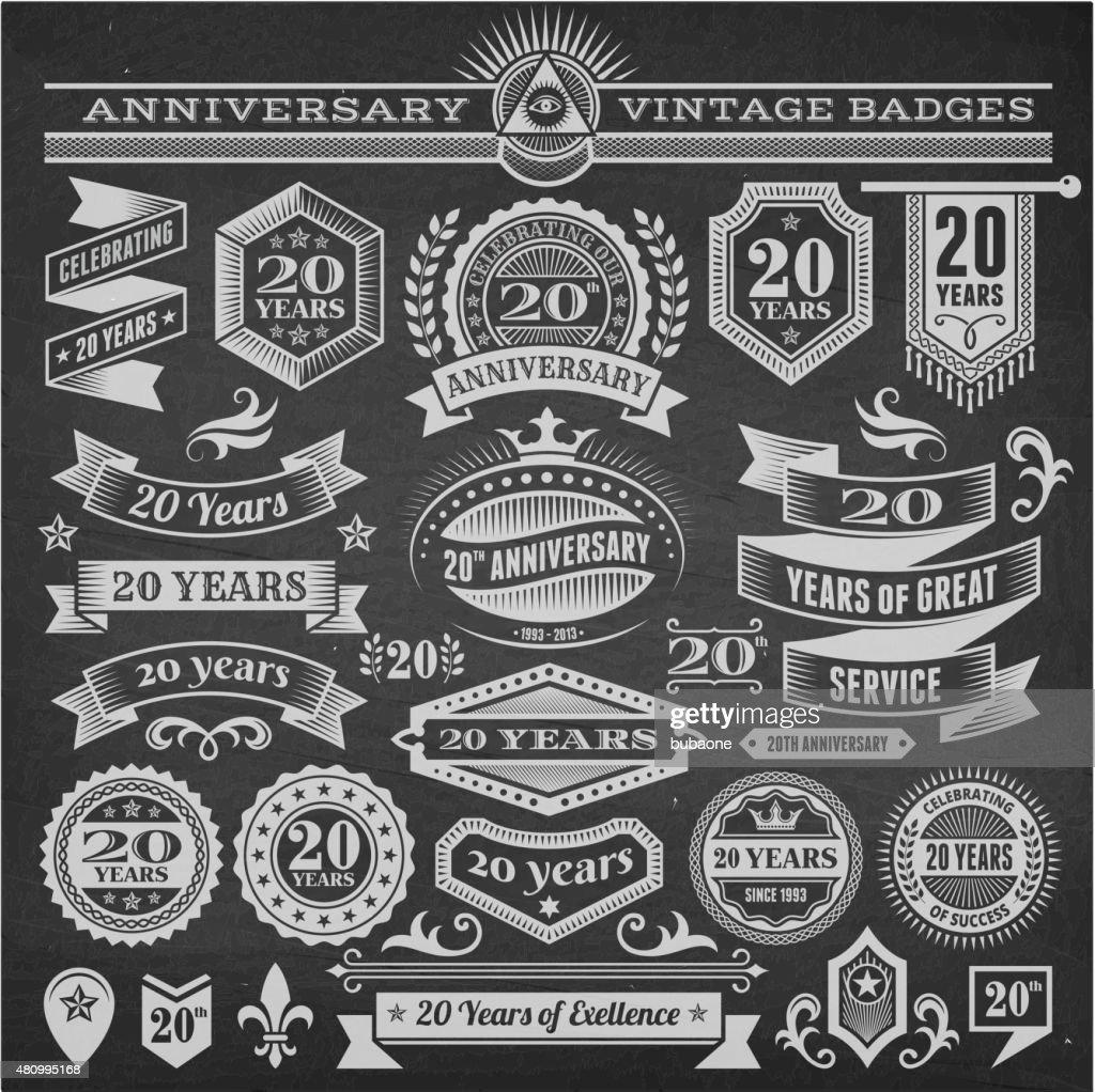 twenty year anniversary hand-drawn chalkboard royalty free vector background