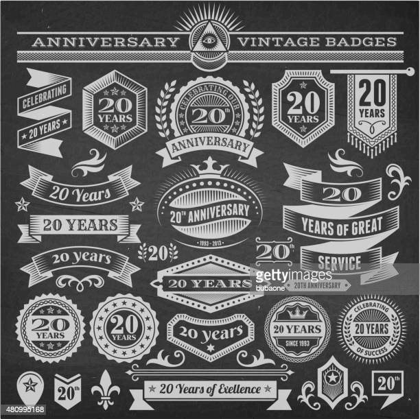 twenty year anniversary hand-drawn chalkboard royalty free vector background