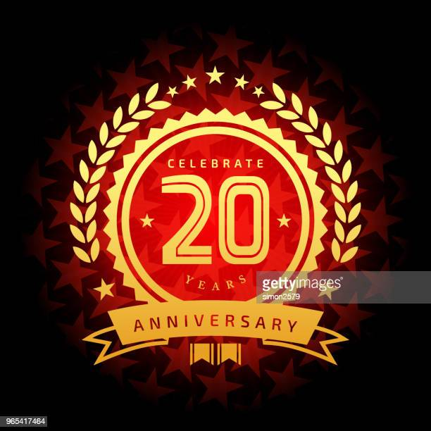 twenty year anniversary icon with red color star shape background - anniversary stock illustrations, clip art, cartoons, & icons