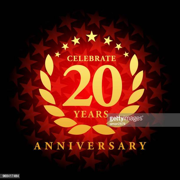 Twenty year anniversary icon with red color star shape background