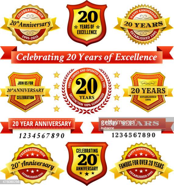 twenty year anniversary royalty free vector background with golden badges
