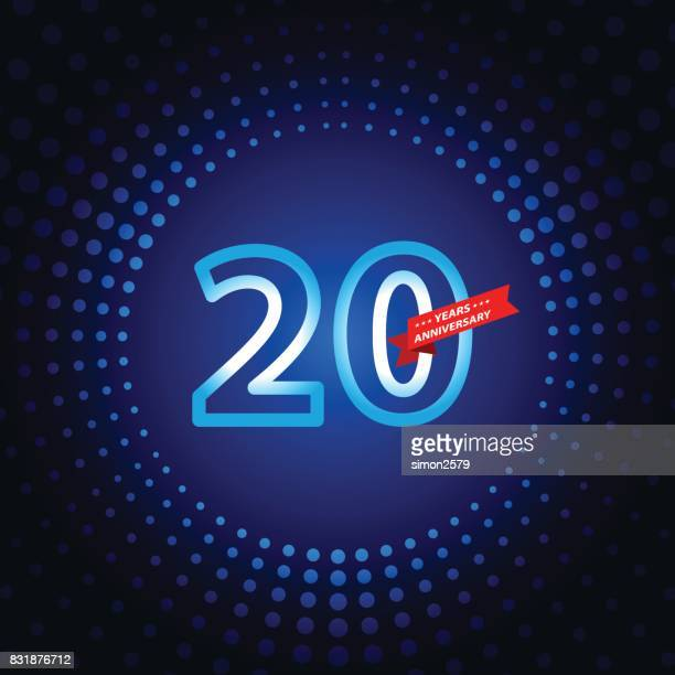 Twenty years anniversary icon with blue color background