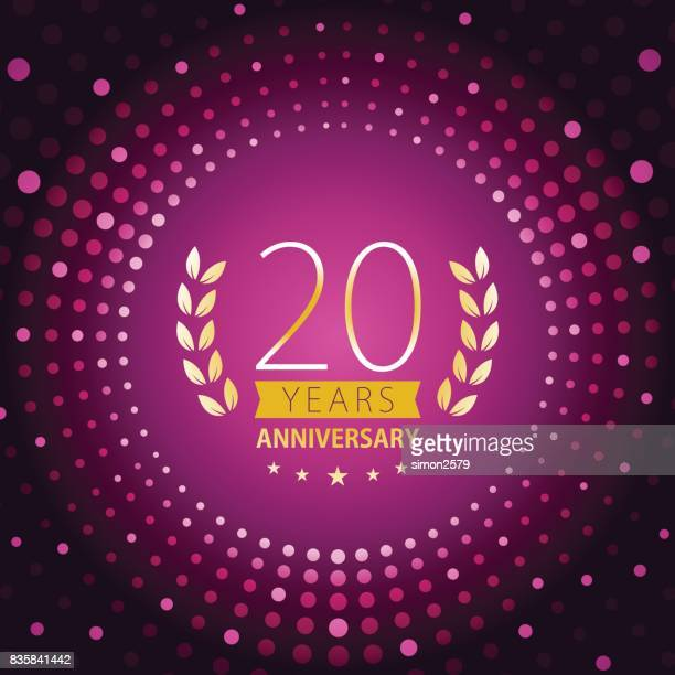 Twenty years anniversary icon with purple color background