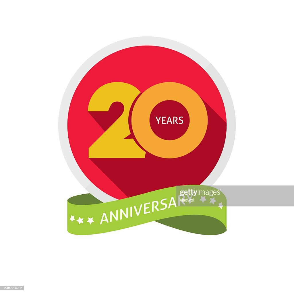 Twenty years anniversary logo, 20 year birthday sticker label