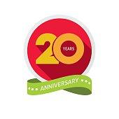Twenty years anniversary logo, 20 year birthday sticker label