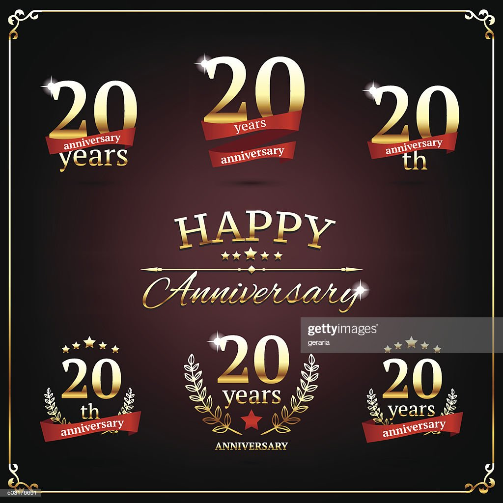 Twenty years anniversary signs collection