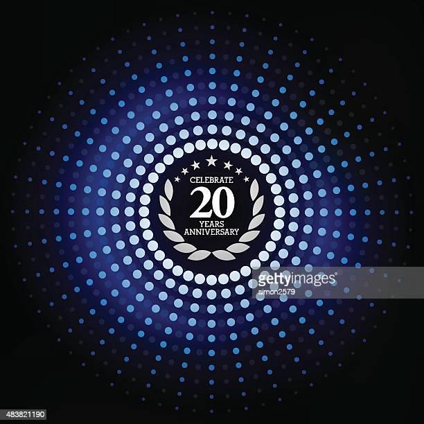 Twenty years anniversary with blue background