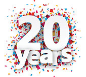 Twenty years paper confetti sign