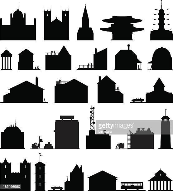illustrations, cliparts, dessins animés et icônes de vingt-cinq bâtiments bas - abribus