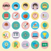Twenty-five school icons in pastel like colors