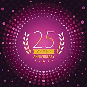 Twenty-five years anniversary icon with purple color background