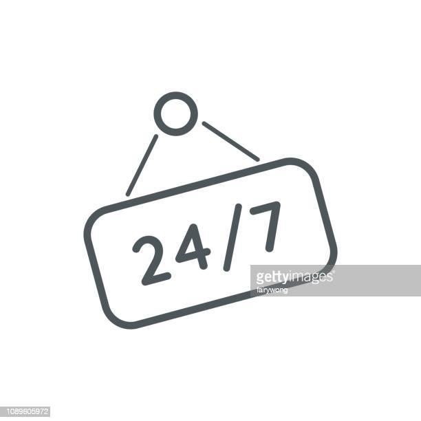 ilustrações de stock, clip art, desenhos animados e ícones de twenty-four hours seven days symbol icon - sinal de emergência informação