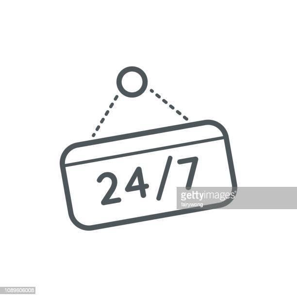 Twenty-four hours seven days symbol icon