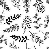 twigs herbs seamless vector pattern handdrawn