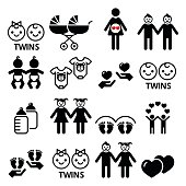 Twin babies icons set - double pram, twins