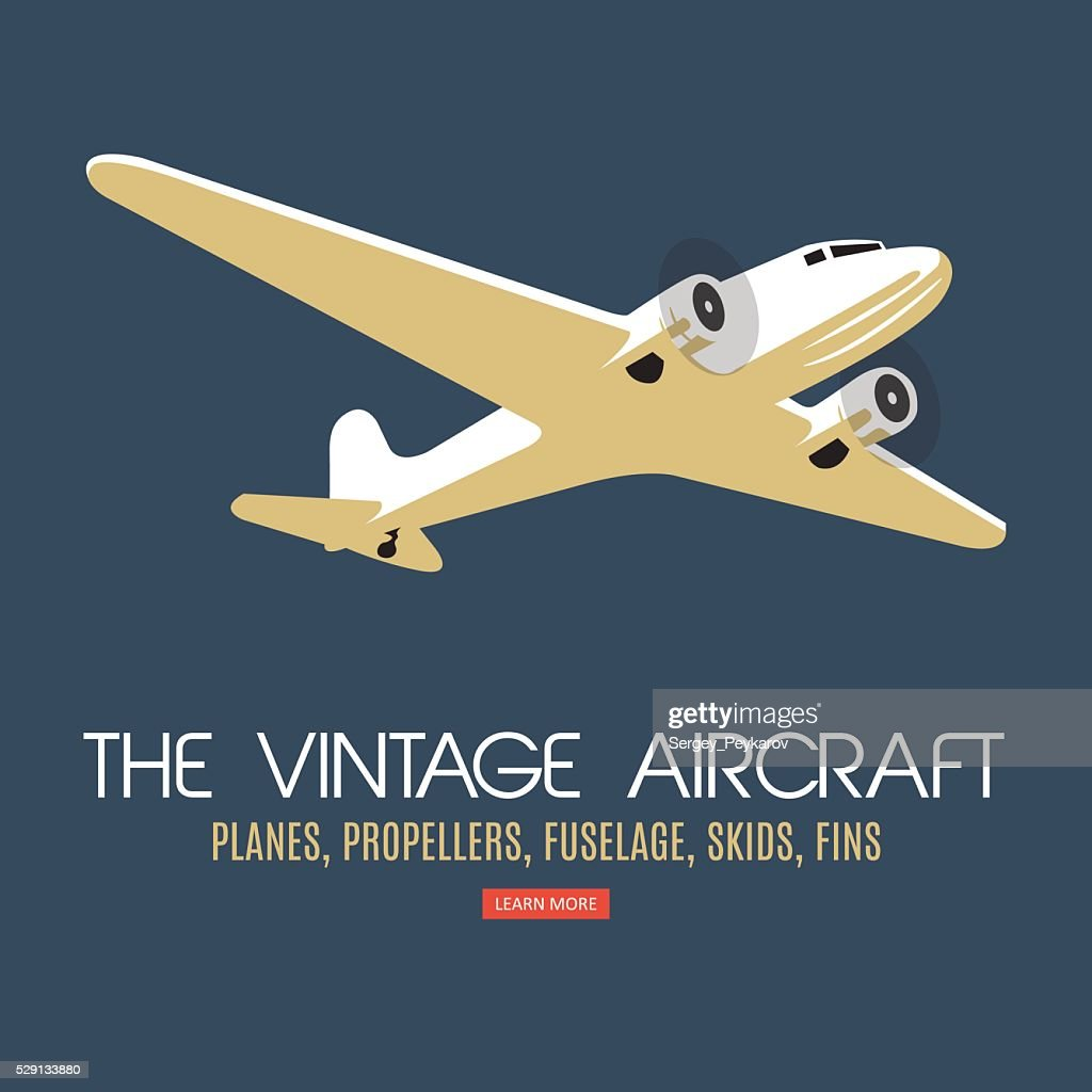 Twin engine passenger plane. For label and banners.