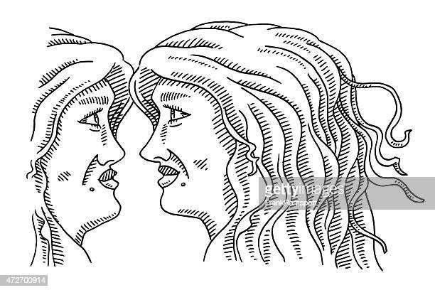 Twin Women Facing Each Other Drawing