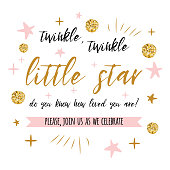 Twinkle twinkle little star text with gold polka dot and pink star for girl baby shower card invitation template